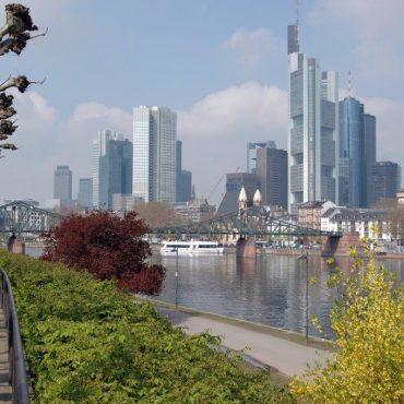 Das Bild zeigt die Skyline von Frankfurt am Main mit dem Main und Bäumen im Vordergrund sowie den Hochhäusern dahinter.