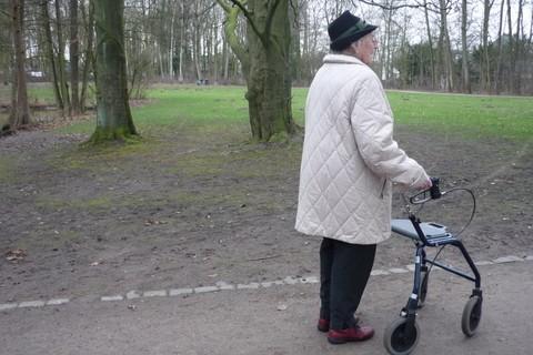 Eine ältere Damen schiebt einen Rollator durch den Park, es ist beginnender Frühling, die Bäume sind aber noch blattlos.