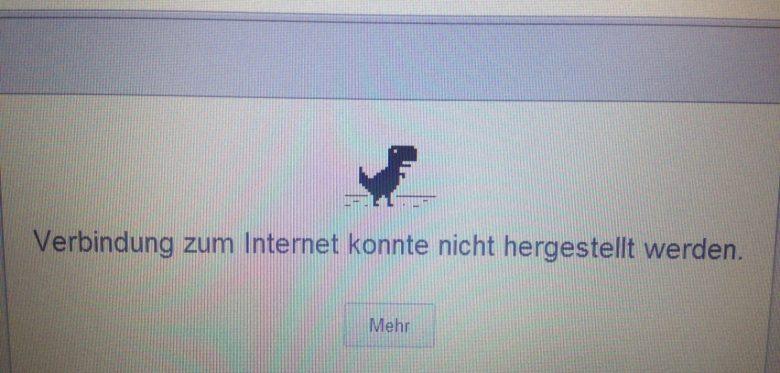Das Bild zeigt ein Computerbild, welches besagt, dass die Verbindung mit dem Internet zur Zeit nicht möglich ist, als kleines Sinnbild dafür steht über der Schriftzeile ein kleiner Dinosaurier.