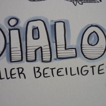 "Das Bild zeigt den Schriftzug ""Dialog aller Beteiligten""."