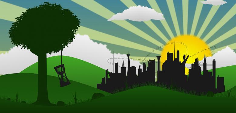 Eine illustration auf der im Vordergrund ein Baum zu sehen ist, daran hängt eine Sanduhr. Im Hintergrund strahlt die Sonne und zu sehen sind hohe Häuser.