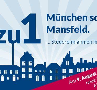 Grafik mit einigen blauen Häusern. Darüber der Text: 7 zu 1. München schlägt Mansfeld.