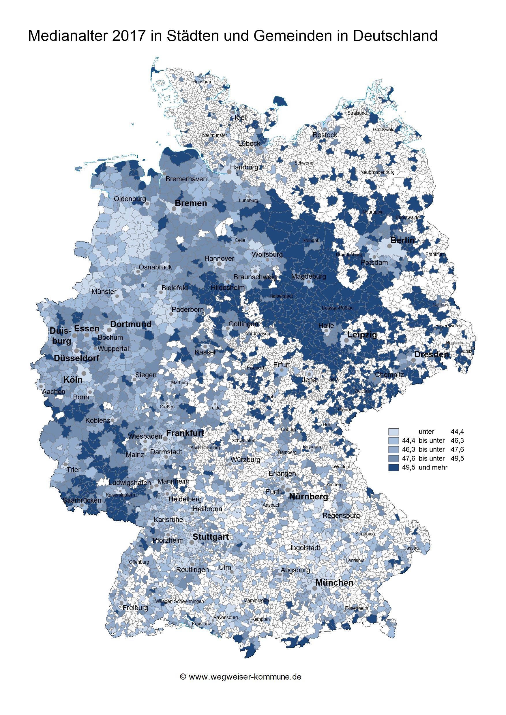 Das MEdianalter 2017 in Städten und Gemeinden, visualisiert auf einer Deutschlandkarte
