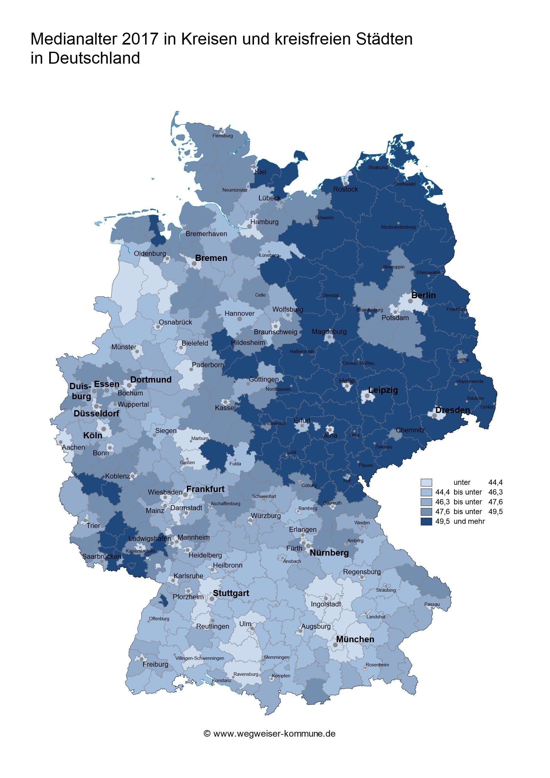 Medianalter 2017 in Kreisen und kreisfreien Städten